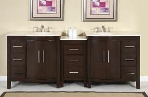 Silkroad Exclusive 89 Inch Double Sink Bathroom Vanity