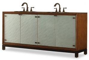 78 Inch Double Sink Bathroom Vanity in Sienna with Glass Doors