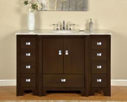 55 Inch Single Sink Bathroom Vanity in Dark Walnut