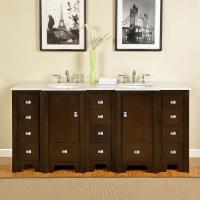 73 Inch Double Sink Bathroom Vanity with Carerra White Marble