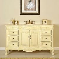 60 Inch Single Sink Bathroom Vanity in White Oak