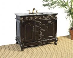 41 Inch Single Sink Bathroom Vanity with Distressed Espresso Finish