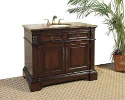 42 Inch Single Sink Bathroom Vanity with Cherry Brown Finish