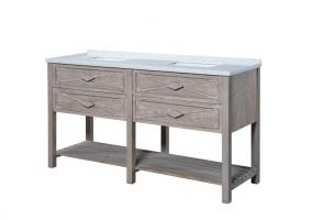 67 Inch Double Sink Bathroom Vanity with a Washed Oak Finish