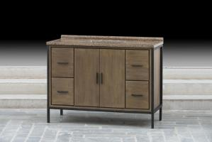 48 Inch Single Sink Bathroom Vanity with a Rustic Wood Finish