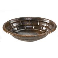 Oval Stacked Stone Self Rimming Hammered Copper Sink