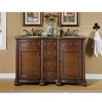 Silkroad Exclusive 52 Inch Double Sink Bathroom Vanity