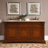 Silkroad Exclusive 67 Inch Double Sink Bathroom Vanity