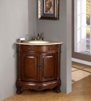 32 Inch Traditional Single Bathroom Vanity with a Travertine Counter Top