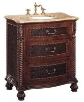 32 Inch Single Sink Bathroom Vanity with Brown Marble Top