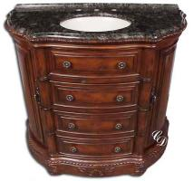 42 Inch Antiqued Brown Single Sink Vanity Cabinet