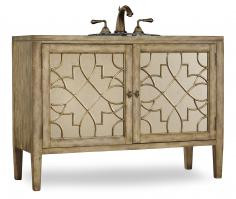 52 Inch Single Sink Bathroom Vanity in Antiqued Parchment with Antiqued Mirrored Doors