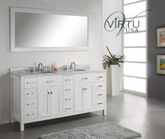 72 Inch Double Sink Bathroom Vanity with Carerra White Marble Top