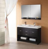 47 Inch Modern Double Sink Bathroom Vanity in Espresso with Open Shelf