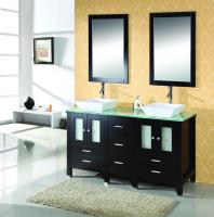 Virtu USA 60 Inch Double Sink Vanity With Espresso Finish and Tempered Glass Top