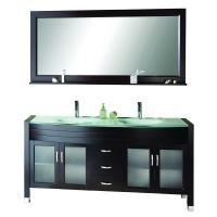 Virtu USA 63 Inch Double Sink Vanity With Espresso Finish and Tempered Glass Top