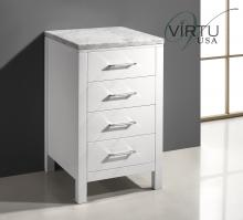 White Drawer Cabinet with Carerra White Marble
