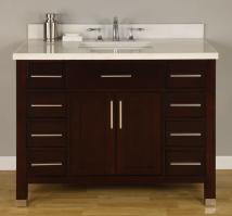 42 Inch Single Sink Modern Dark Cherry Bathroom Vanity with Choice of Counter Top