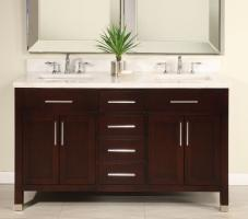 60 Inch Double Sink Modern Dark Cherry Bathroom Vanity With Choice Of  Counter Top