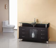 55 Inch Single Sink Bathroom Vanity in Espresso with Glass Top and Sink