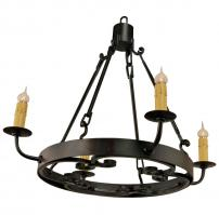 4 Light Medallion Wrought Iron Chandelier