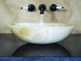 Oval Yellow Onyx Stone Vessel Sink