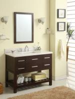 42 Inch Single Sink Modern Cherry Bathroom Vanity with Open Shelf and Choice of Counter Top
