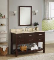 48 Inch Single Sink Modern Cherry Bathroom Vanity with Open Shelf and Choice of Counter Top