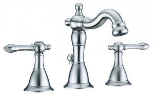 Virtu USA Brushed Nickel Three Hole Bathroom Vanity Faucet