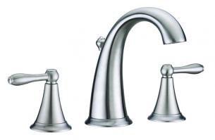 Virtu USA Brushed Nickel Three Hole Bathroom Vanity Faucet