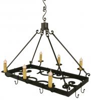 6 Light Pot Rack Wrought Iron Chandelier