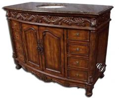 49 Inch Dark Brown Finish Single Sink Bathroom Vanity