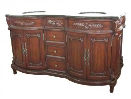 72 Inch Double Sink Bathroom Vanity in Cherry Walnut Stain