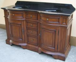 60 Inch Double Sink Bathroom Vanity in Cherry Walnut Stain