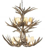 12 Light Mule Deer Antler Chandelier