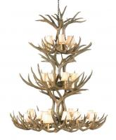 20 Light Mule Deer Antler Chandelier
