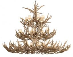 24 Light Mule Deer Antler Chandelier