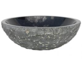 Black Granite Vessel Sink Rough Exterior, Polished Interior