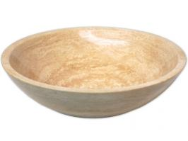 Round Beige Travertine Vessel Sink