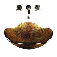 Gold Flower Glass Vessel Sink