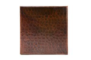 6 Inch Square Hammered Copper Tile