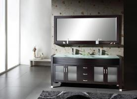 71 Inch Double Sink Bathroom Vanity Espresso with Mirror