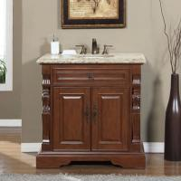 36 Inch Traditional Single Bathroom Vanity with Venetian Gold Top