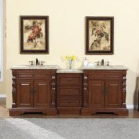 90 Inch Traditional Double Bathroom Vanity with a Travertine Counter Top