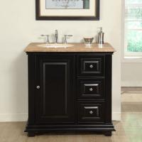 36 Inch Transitional Single Bathroom Vanity with a Travertine Counter Top