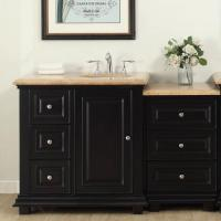 56 Inch Transitional Single Bathroom Vanity with a Travertine Counter Top