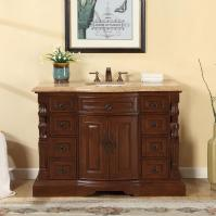 48 Inch Traditional Single Bathroom Vanity with a Travertine Counter Top