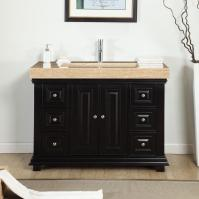 48 Inch Modern Single Bathroom Vanity with a Travertine Counter Top