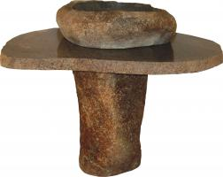 36 Inch Vessel Sink Pedestal with Natural Granite Boulder Sink