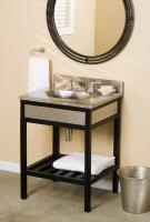 24 Inch Single Sink Bath Vanity with Brushed Nickel Copper Top